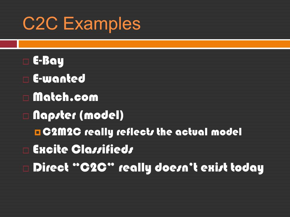 C2C Examples E-Bay E-wanted Match.com Napster (model)