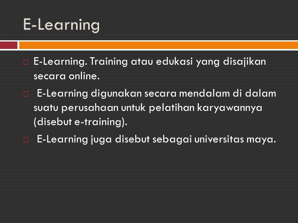 E-Learning E-Learning. Training atau edukasi yang disajikan secara online.