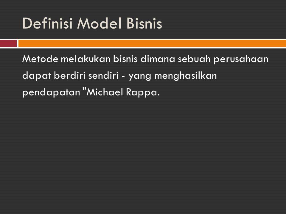 Definisi Model Bisnis Metode melakukan bisnis dimana sebuah perusahaan dapat berdiri sendiri - yang menghasilkan pendapatan Michael Rappa.
