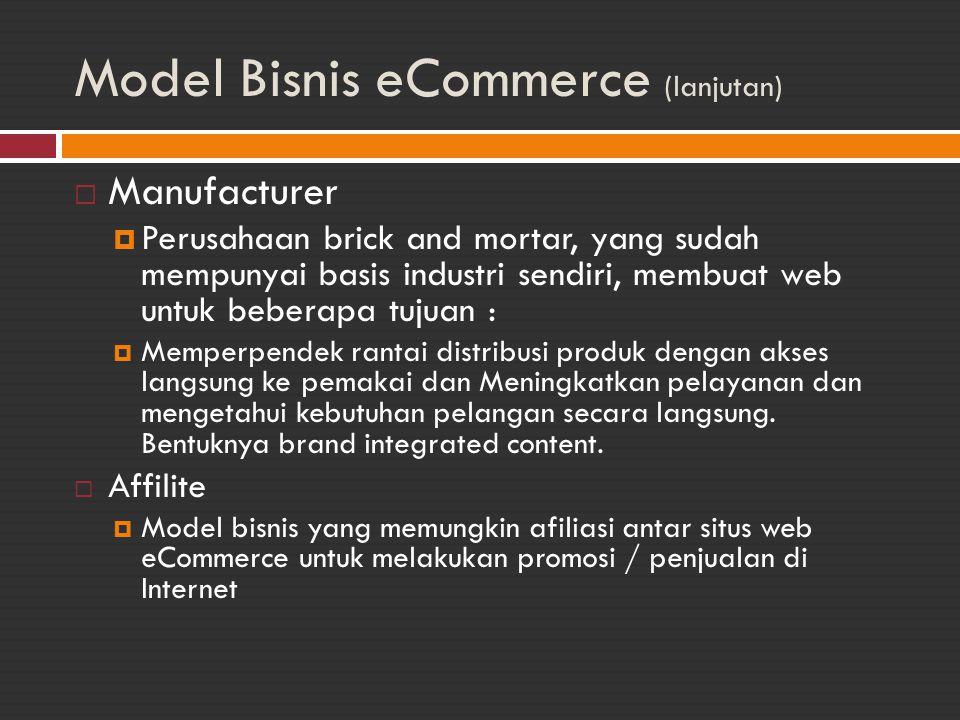 Model Bisnis eCommerce (lanjutan)