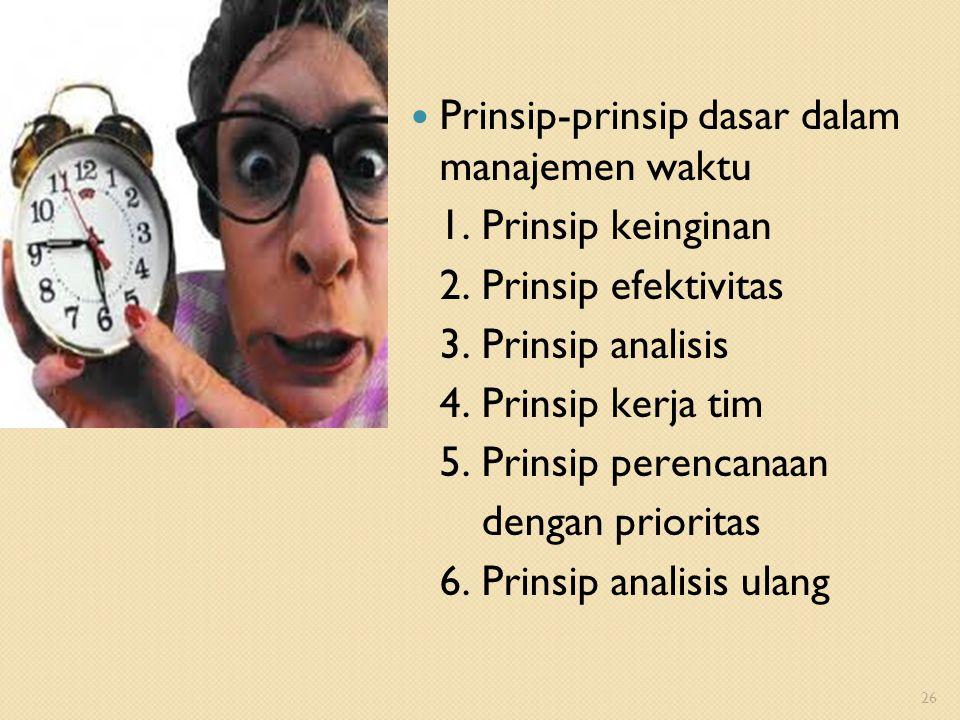 Prinsip-prinsip dasar dalam manajemen waktu