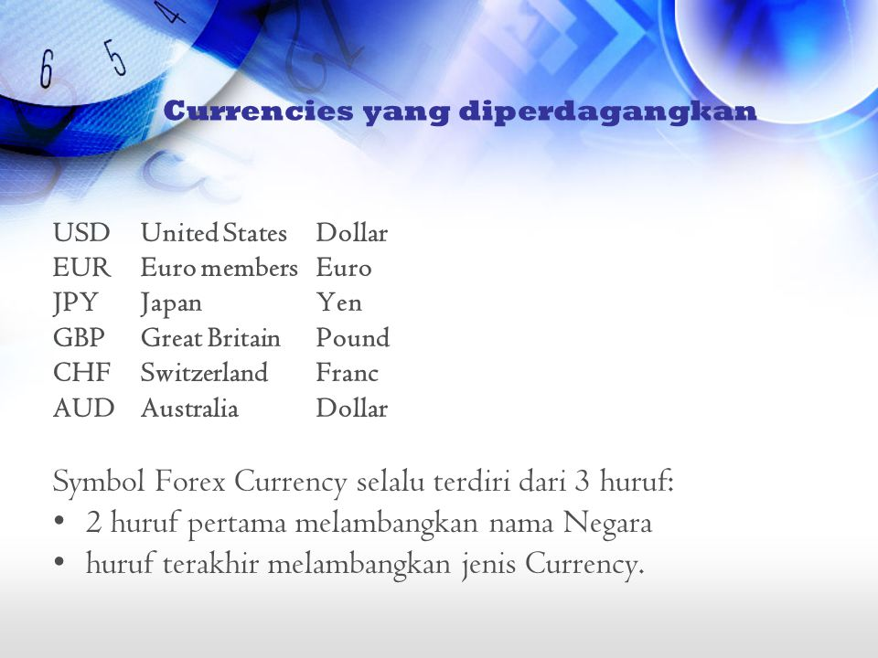 Currencies yang diperdagangkan