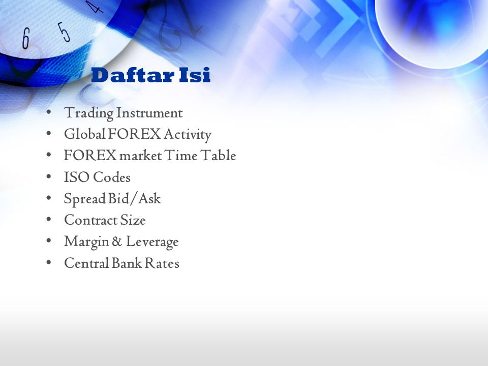 Daftar Isi Trading Instrument Global FOREX Activity