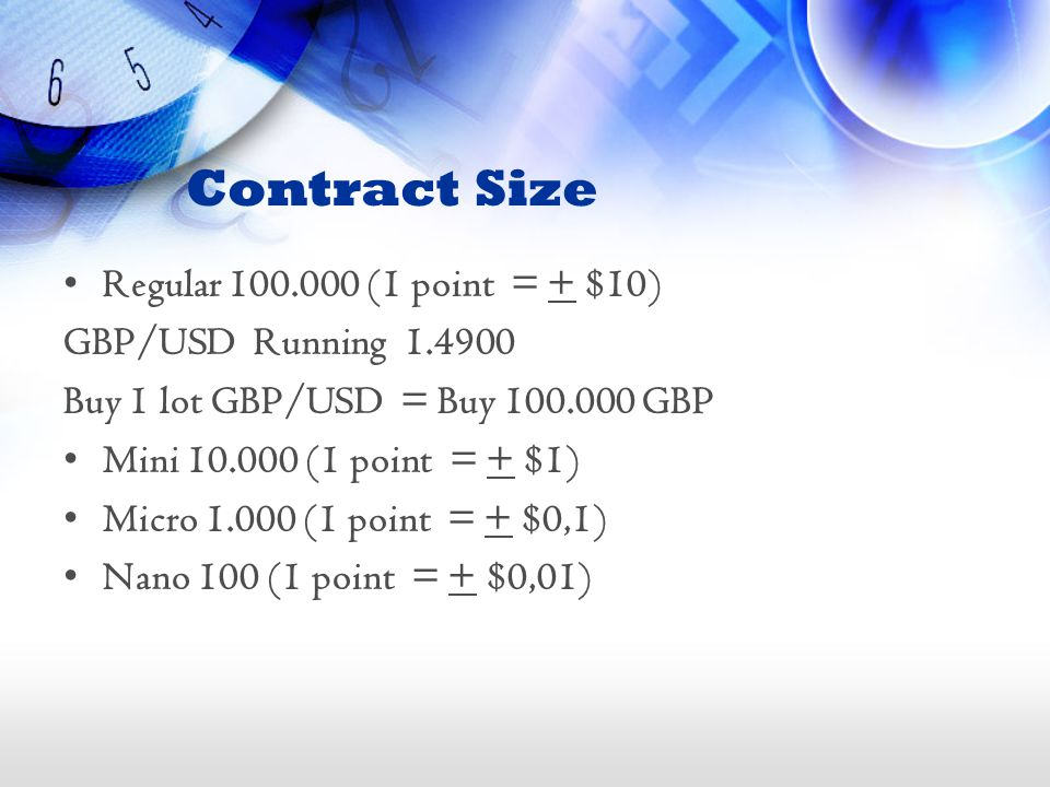 Contract Size Regular 100.000 (1 point = + $10) GBP/USD Running 1.4900