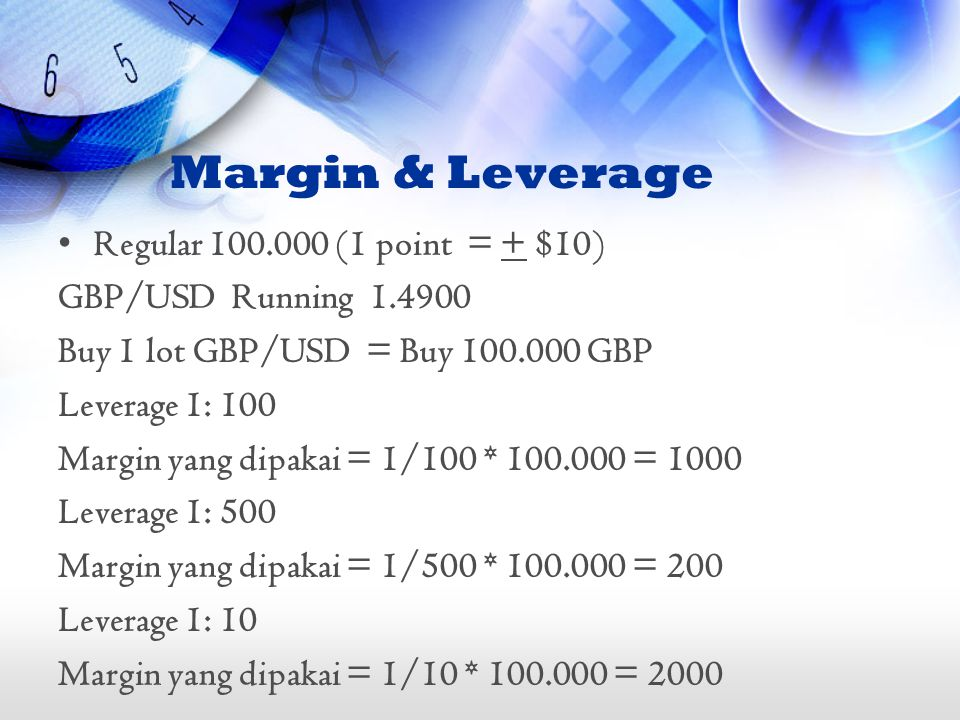 Margin & Leverage Regular 100.000 (1 point = + $10)