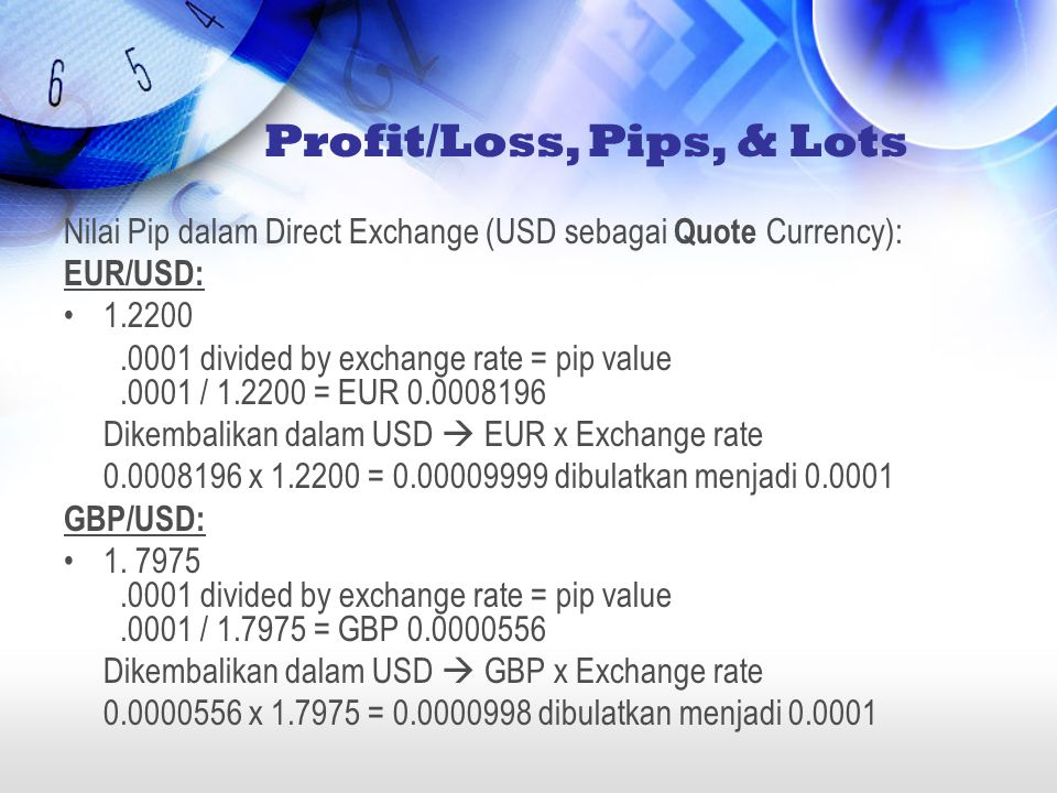 Profit/Loss, Pips, & Lots