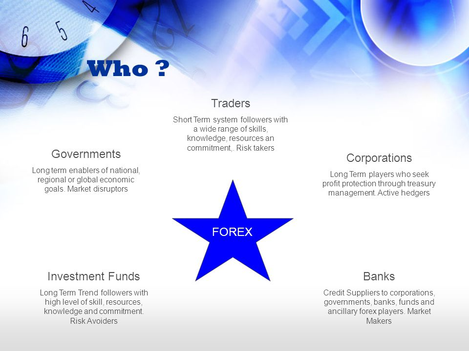 Who Traders Governments Corporations FOREX Investment Funds Banks