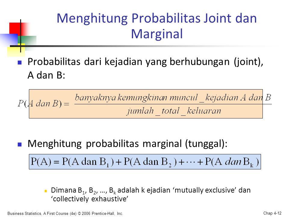 Menghitung Probabilitas Joint dan Marginal