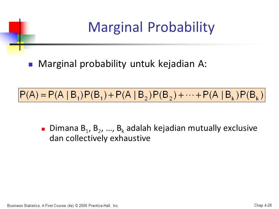 Marginal Probability Marginal probability untuk kejadian A: