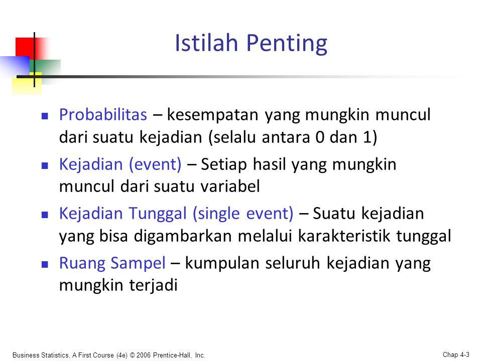 Istilah Penting Probabilitas – kesempatan yang mungkin muncul dari suatu kejadian (selalu antara 0 dan 1)