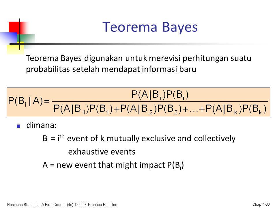Teorema Bayes Teorema Bayes digunakan untuk merevisi perhitungan suatu probabilitas setelah mendapat informasi baru.