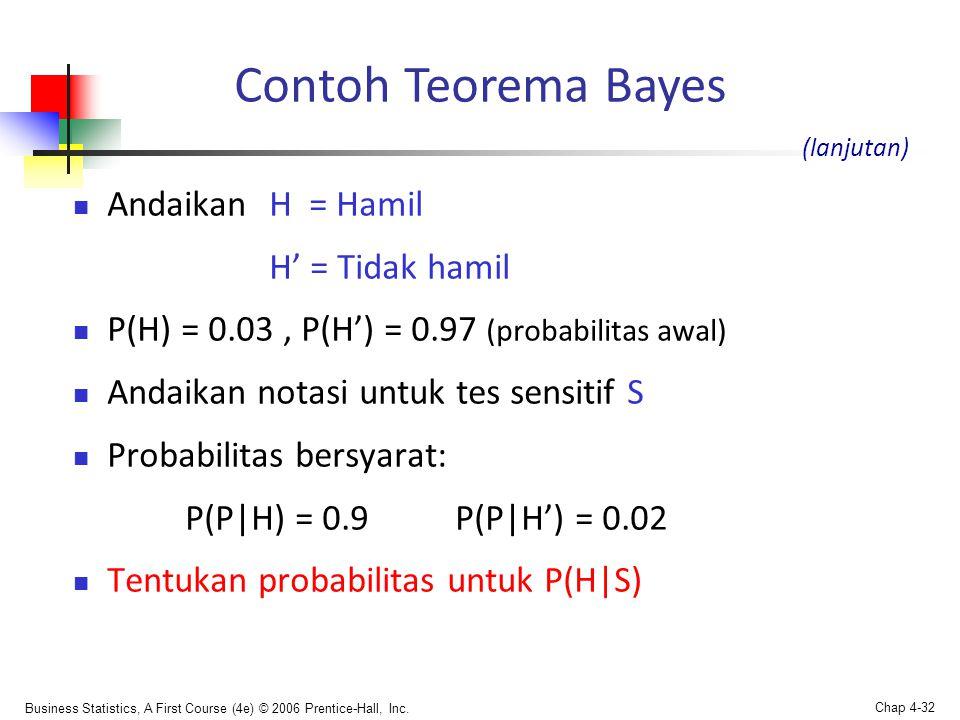 Contoh Teorema Bayes Andaikan H = Hamil H' = Tidak hamil