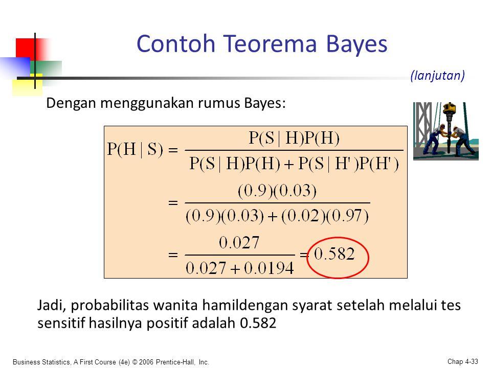 Contoh Teorema Bayes Dengan menggunakan rumus Bayes:
