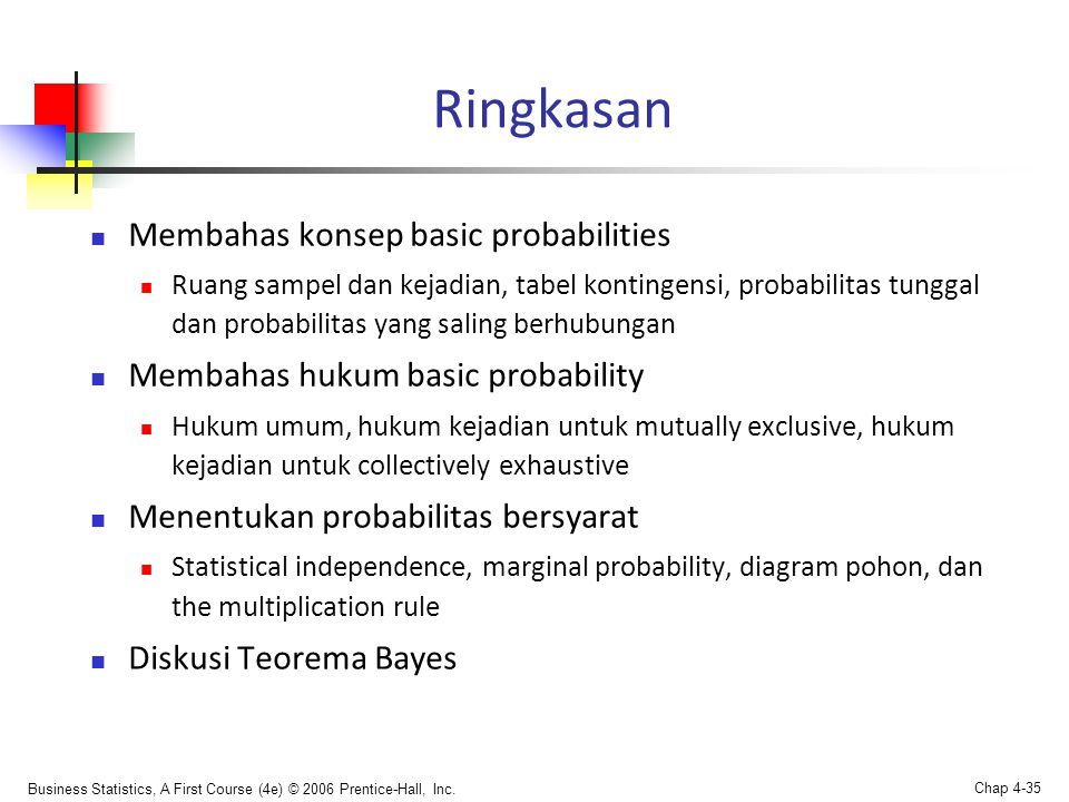 Ringkasan Membahas konsep basic probabilities