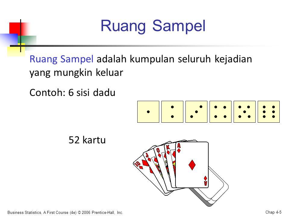 Ruang Sampel Ruang Sampel adalah kumpulan seluruh kejadian yang mungkin keluar. Contoh: 6 sisi dadu.