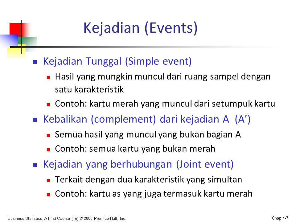 Kejadian (Events) Kejadian Tunggal (Simple event)