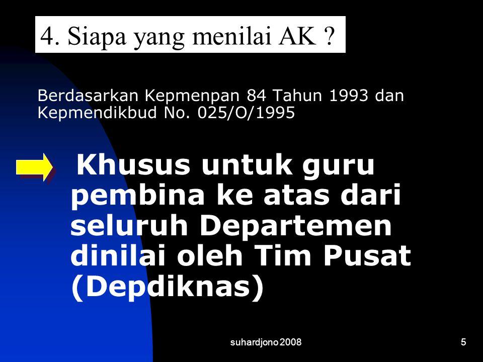 4. Siapa yang menilai AK Berdasarkan Kepmenpan 84 Tahun 1993 dan Kepmendikbud No. 025/O/1995.