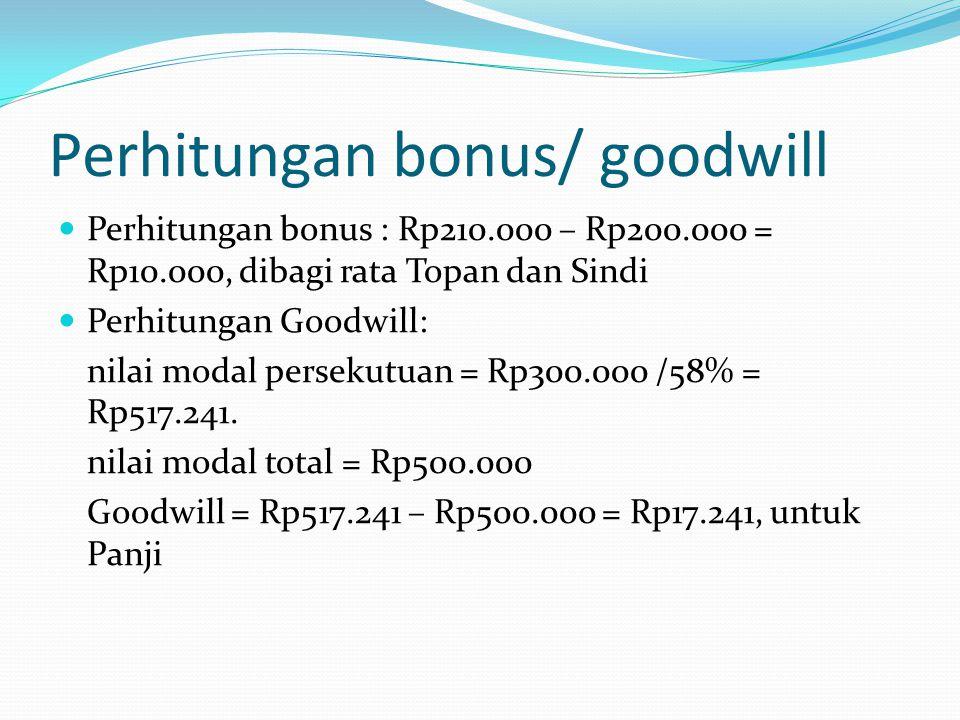 Perhitungan bonus/ goodwill