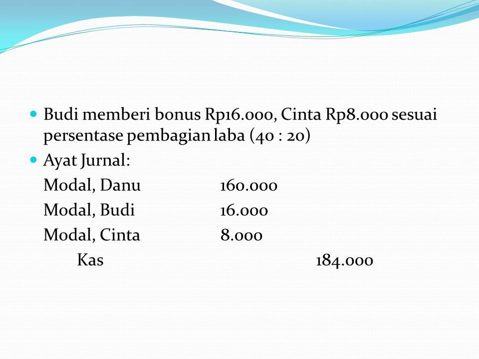 Budi memberi bonus Rp16. 000, Cinta Rp8
