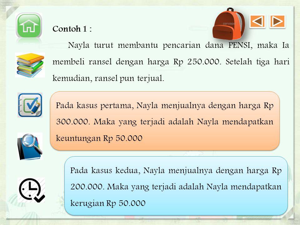 Contoh 1 : Nayla turut membantu pencarian dana PENSI, maka Ia membeli ransel dengan harga Rp 250.000. Setelah tiga hari kemudian, ransel pun terjual.
