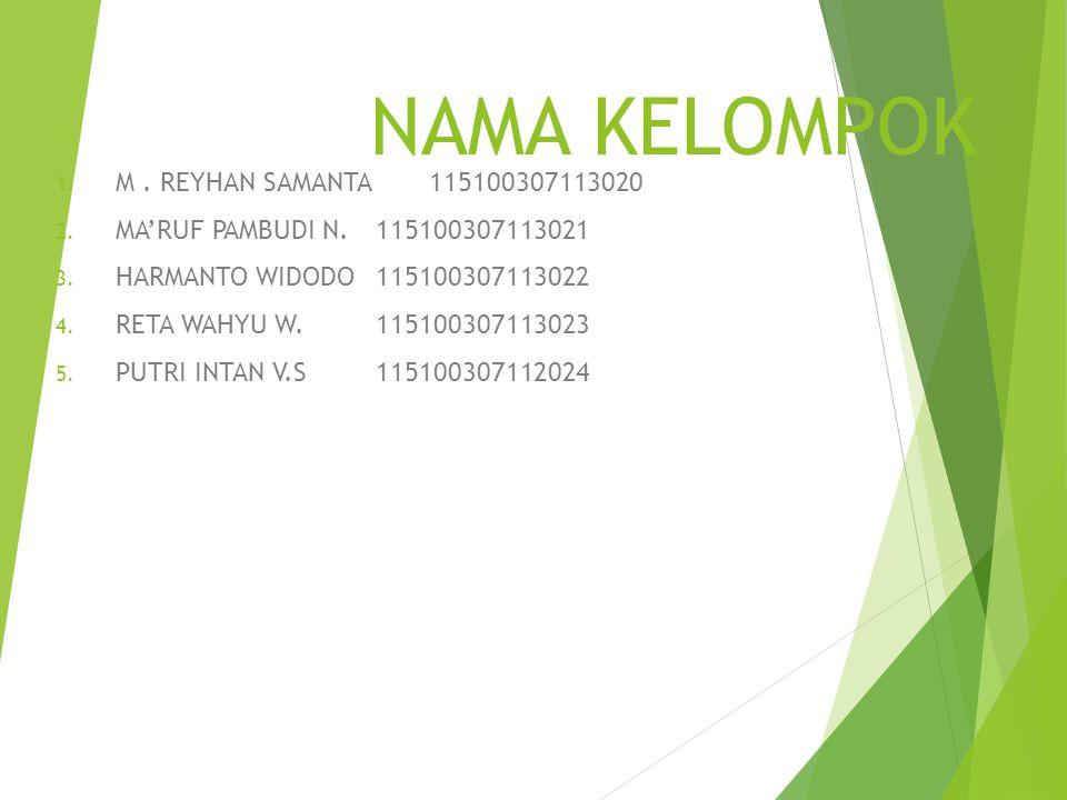 NAMA KELOMPOK M . REYHAN SAMANTA 115100307113020