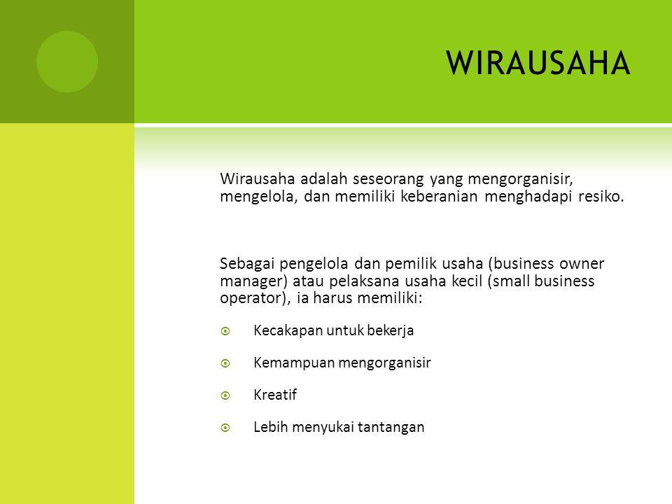 wirausaha Wirausaha adalah seseorang yang mengorganisir, mengelola, dan memiliki keberanian menghadapi resiko.