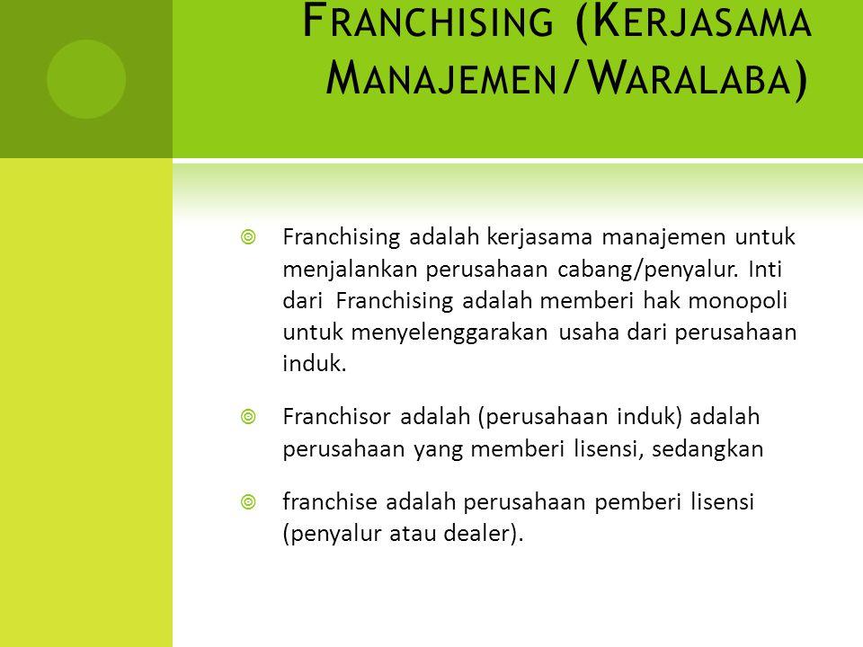 Franchising (Kerjasama Manajemen/Waralaba)
