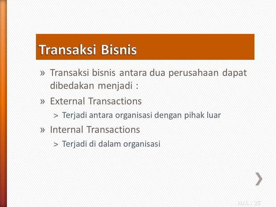 Transaksi Bisnis Transaksi bisnis antara dua perusahaan dapat dibedakan menjadi : External Transactions.