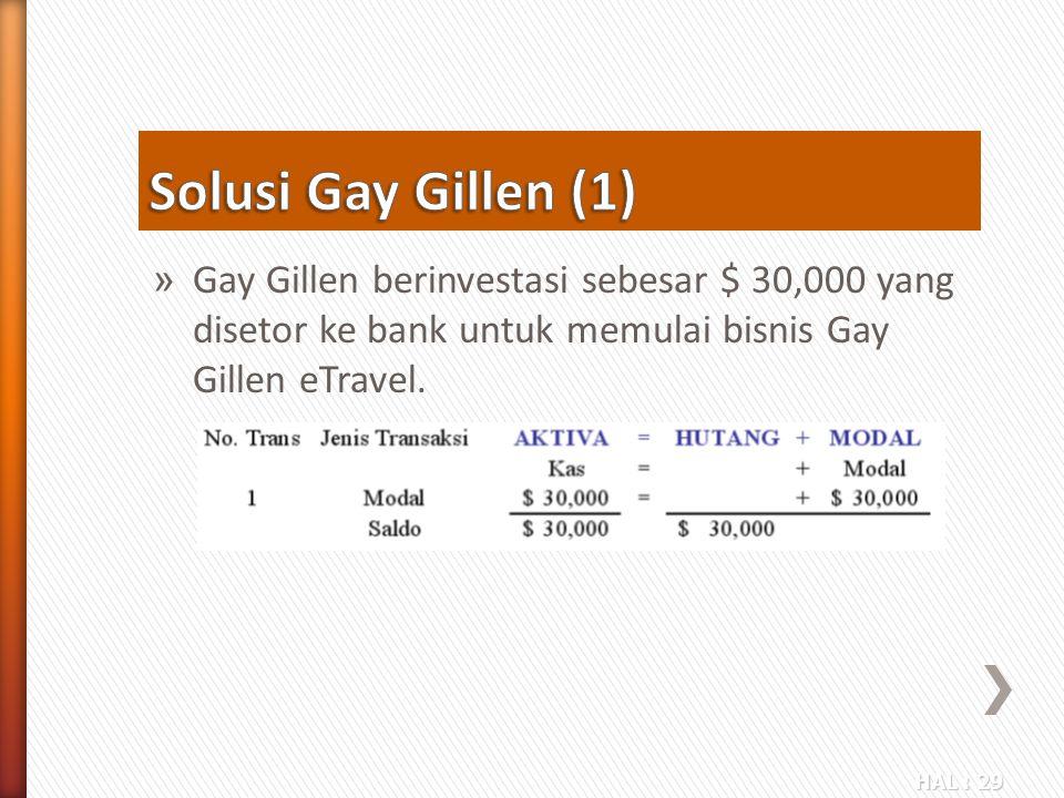 Solusi Gay Gillen (1) Gay Gillen berinvestasi sebesar $ 30,000 yang disetor ke bank untuk memulai bisnis Gay Gillen eTravel.