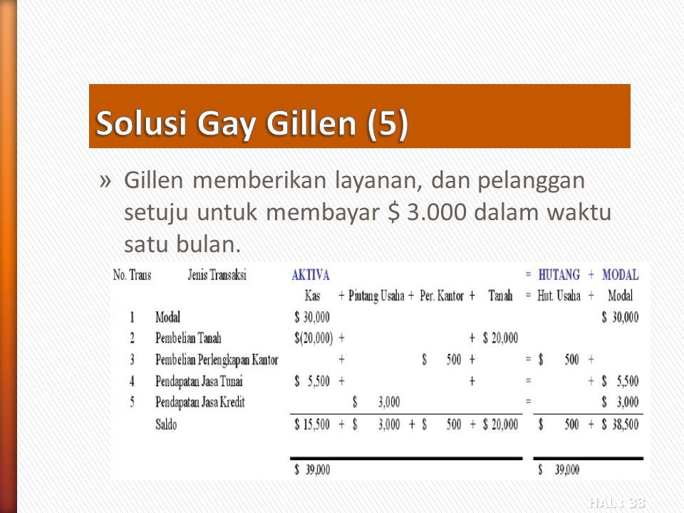 Solusi Gay Gillen (5) Gillen memberikan layanan, dan pelanggan setuju untuk membayar $ 3.000 dalam waktu satu bulan.