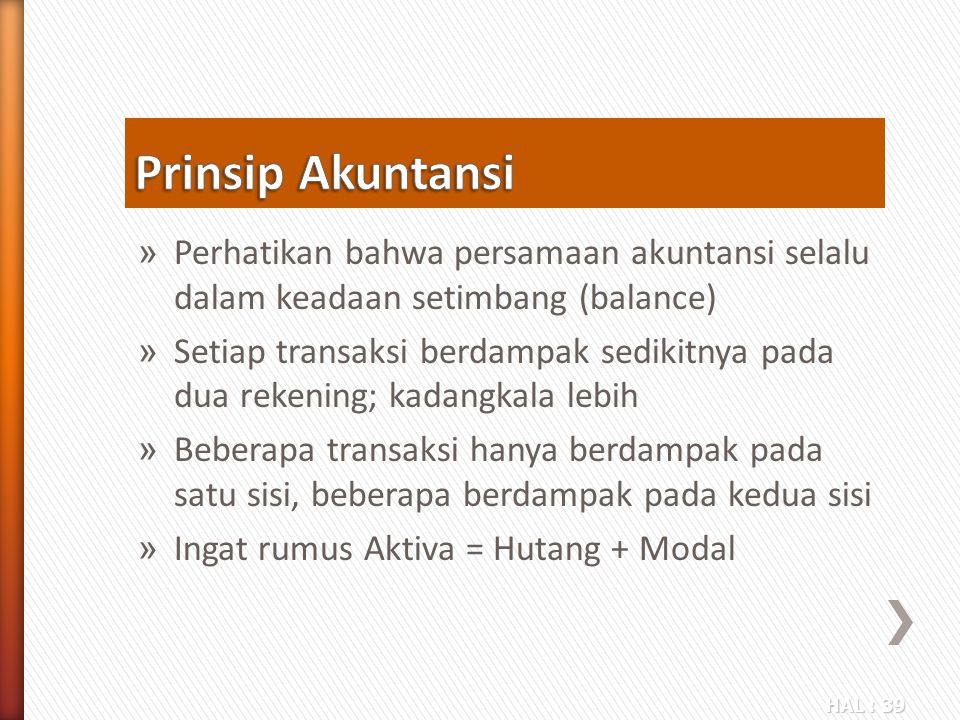 Prinsip Akuntansi Perhatikan bahwa persamaan akuntansi selalu dalam keadaan setimbang (balance)