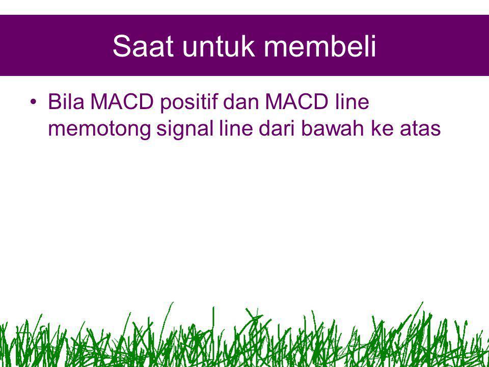 Saat untuk membeli Bila MACD positif dan MACD line memotong signal line dari bawah ke atas