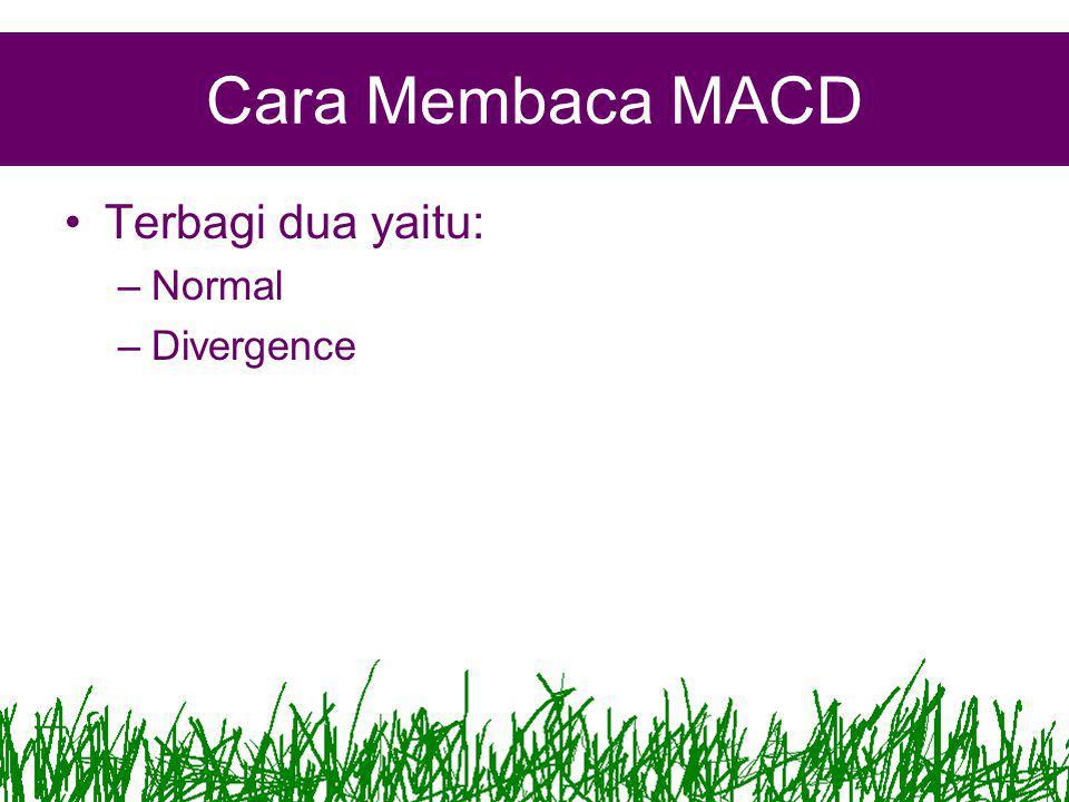 Cara Membaca MACD Terbagi dua yaitu: Normal Divergence