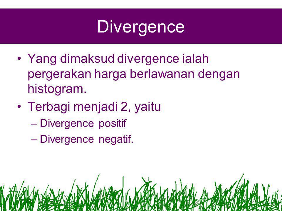 Divergence Yang dimaksud divergence ialah pergerakan harga berlawanan dengan histogram. Terbagi menjadi 2, yaitu.