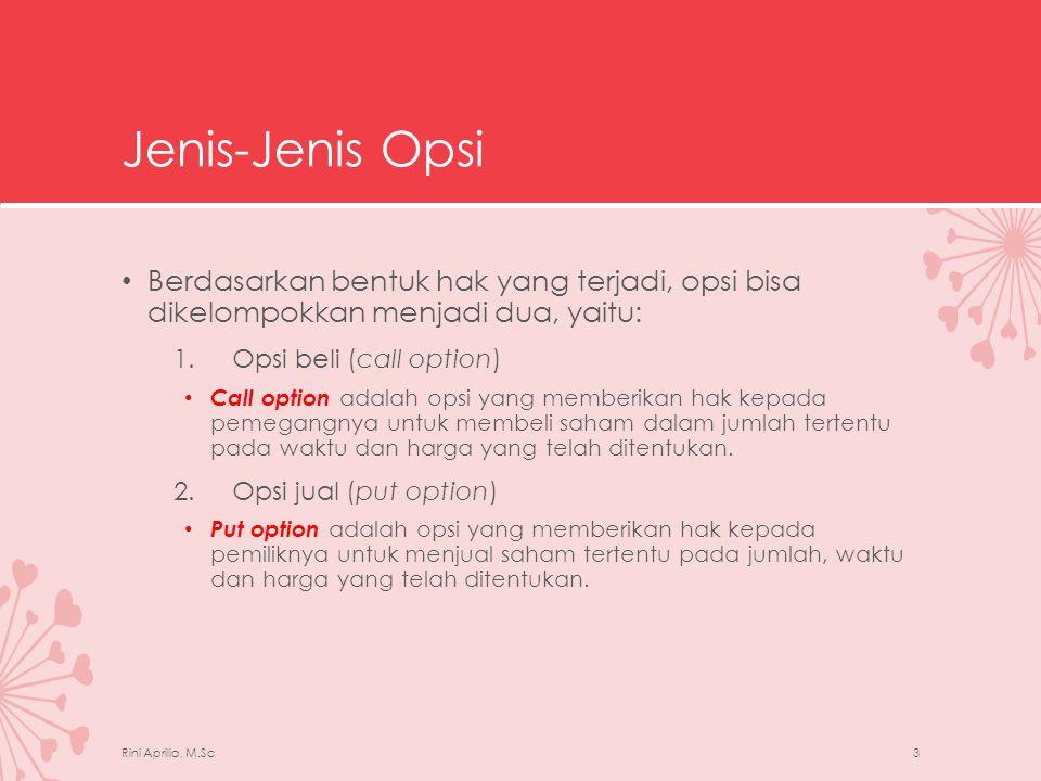 Jenis-Jenis Opsi Berdasarkan bentuk hak yang terjadi, opsi bisa dikelompokkan menjadi dua, yaitu: Opsi beli (call option)