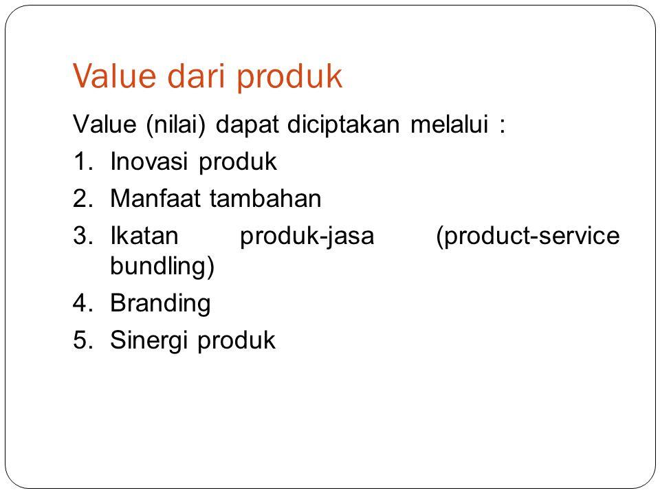 Value dari produk Value (nilai) dapat diciptakan melalui :