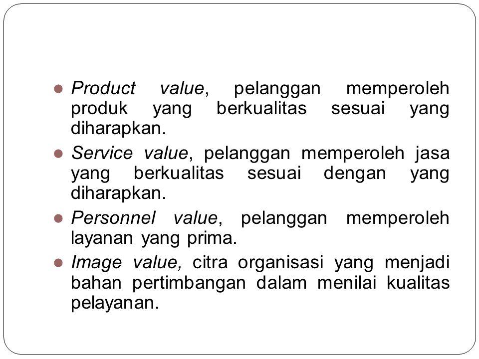 Product value, pelanggan memperoleh produk yang berkualitas sesuai yang diharapkan.