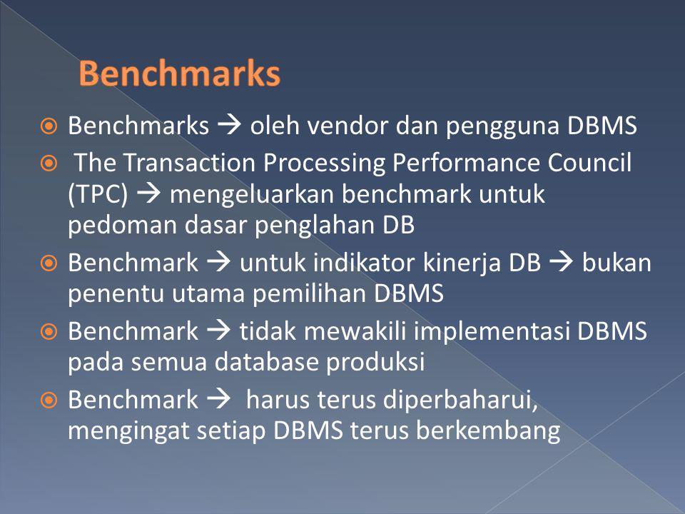 Benchmarks Benchmarks  oleh vendor dan pengguna DBMS