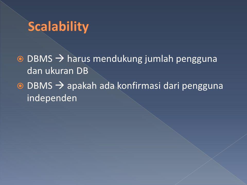 Scalability DBMS  harus mendukung jumlah pengguna dan ukuran DB