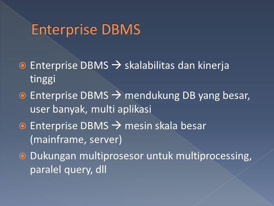 Enterprise DBMS Enterprise DBMS  skalabilitas dan kinerja tinggi