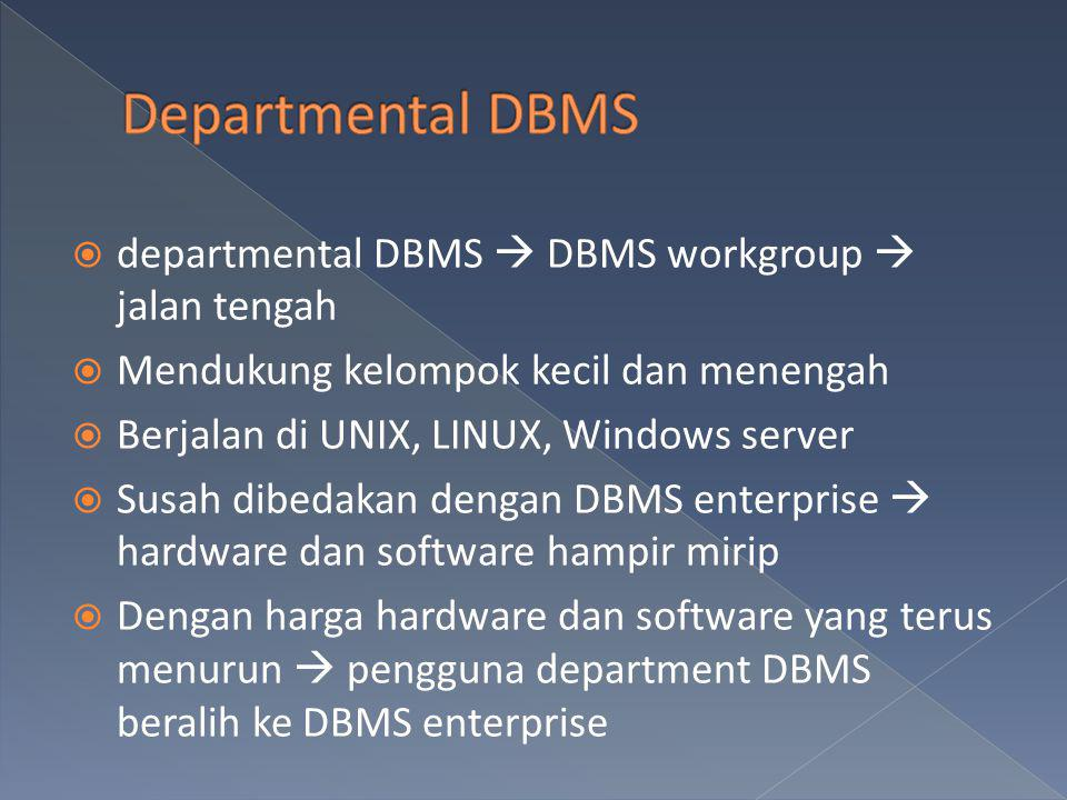 Departmental DBMS departmental DBMS  DBMS workgroup  jalan tengah
