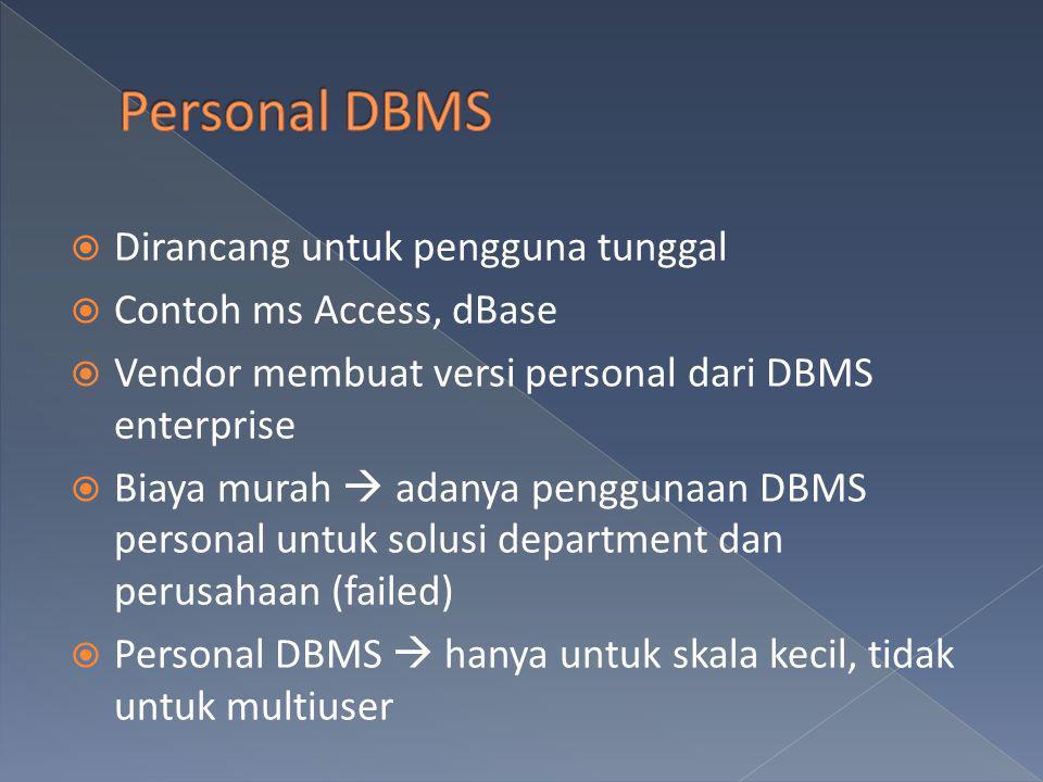Personal DBMS Dirancang untuk pengguna tunggal Contoh ms Access, dBase