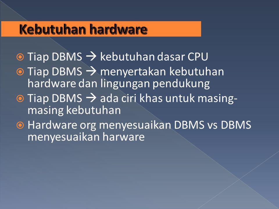 Kebutuhan hardware Tiap DBMS  kebutuhan dasar CPU