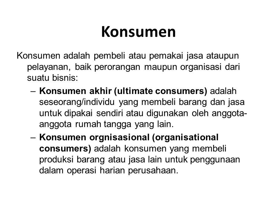 Konsumen Konsumen adalah pembeli atau pemakai jasa ataupun pelayanan, baik perorangan maupun organisasi dari suatu bisnis: