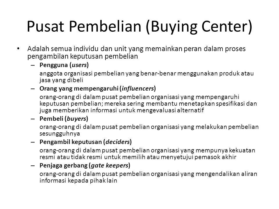 Pusat Pembelian (Buying Center)