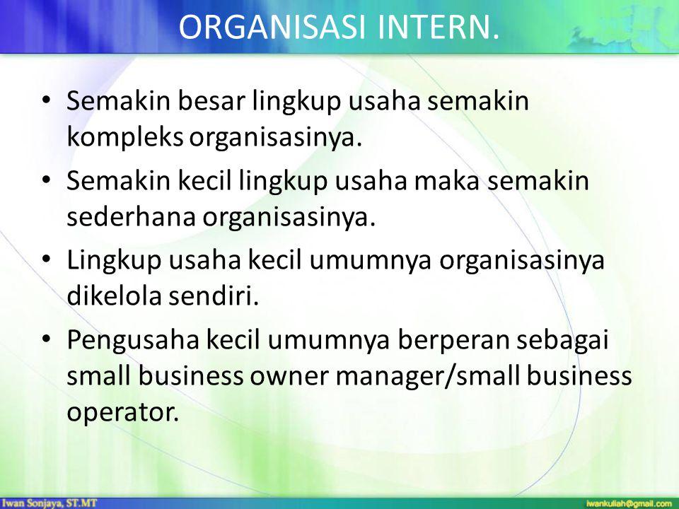 ORGANISASI INTERN. Semakin besar lingkup usaha semakin kompleks organisasinya. Semakin kecil lingkup usaha maka semakin sederhana organisasinya.