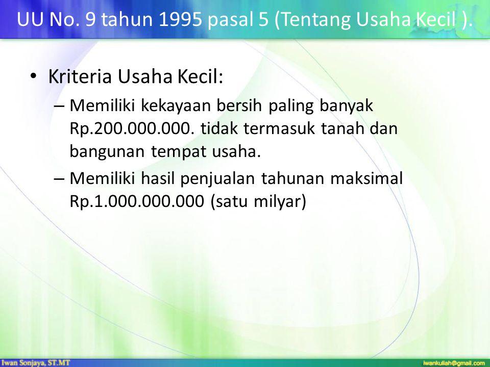 UU No. 9 tahun 1995 pasal 5 (Tentang Usaha Kecil ).