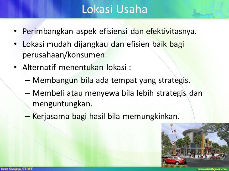 Lokasi Usaha Perimbangkan aspek efisiensi dan efektivitasnya.