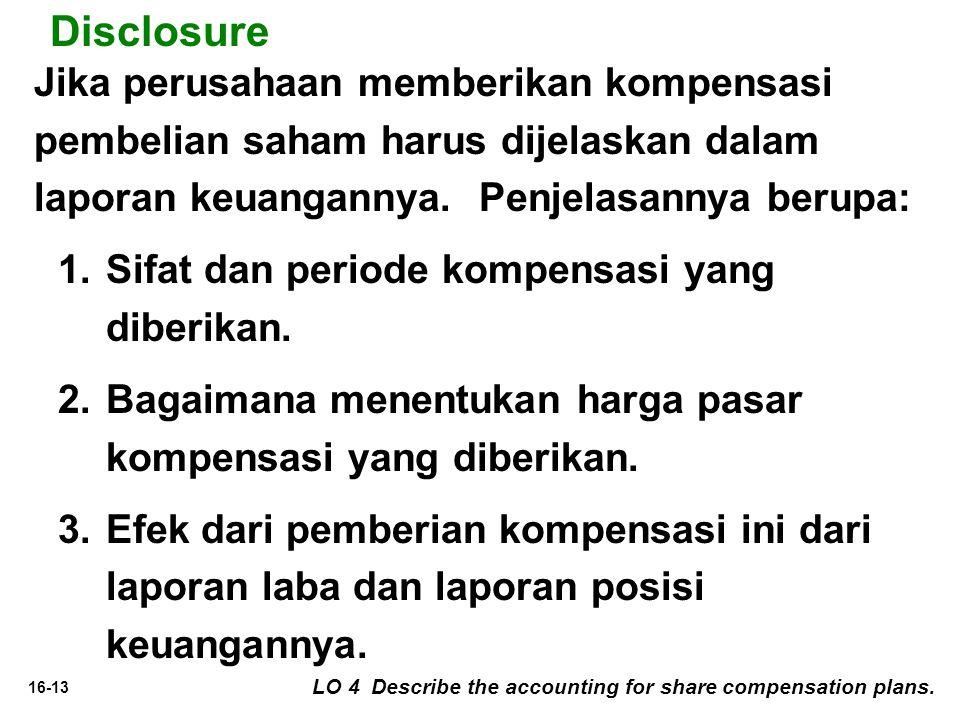 Disclosure Jika perusahaan memberikan kompensasi pembelian saham harus dijelaskan dalam laporan keuangannya. Penjelasannya berupa: