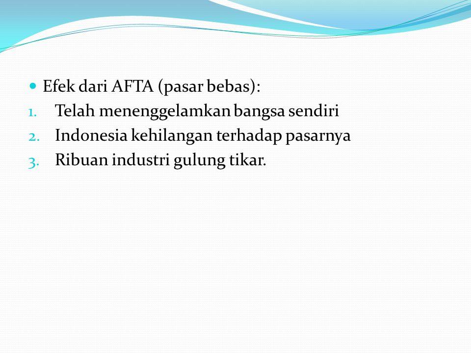 Efek dari AFTA (pasar bebas):